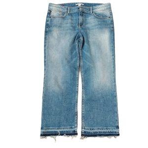 Alice + Olivia raw hem high waist cropped jeans